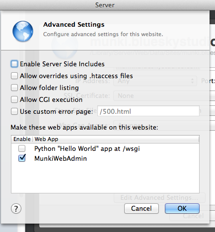 Advanced Websites Settings